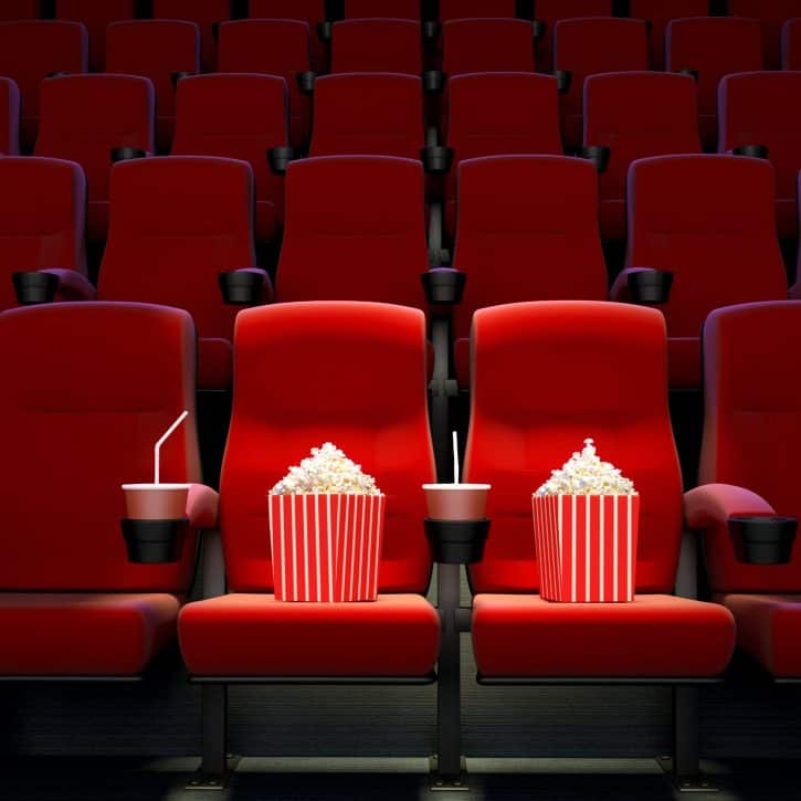 Movie theater seats and popcorn